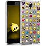 kwmobile Hülle für Huawei Y6 (2017) - TPU Silikon Backcover Case Handy Schutzhülle - Cover klar Emoji Design Mehrfarbig Transparent