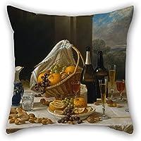 Slimmingpiggy manta fundas de almohada de pintura al óleo John F. Francis – Luncheon Still Life para la oficina, niños y niñas, bar, sala de estudio, sala de estudio para niñas de 40 x 40 cm (ambos lados)