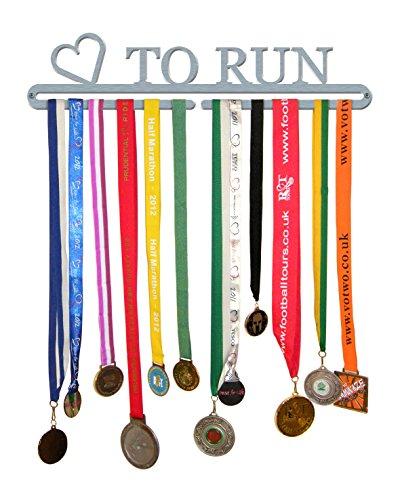 """Medaillen-Aufhänger mit Aufschrift """"Love To Run"""", aus gebürstetem Edelstahl, hergestellt in Großbritannien - Aufhänger Race-medaille"""