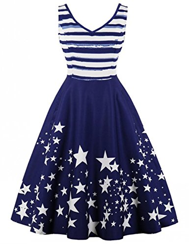 MLHLOVE Ladies Vintage 1950 's Retro Rockabilly Sleeveless Stripe Evening Party Floral Cocktail Party Dress Marineblau M (1950 Evening Star)