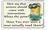 Fridge Magnet Minion Chararctor Women Instructions Read Manual Quotes Saying