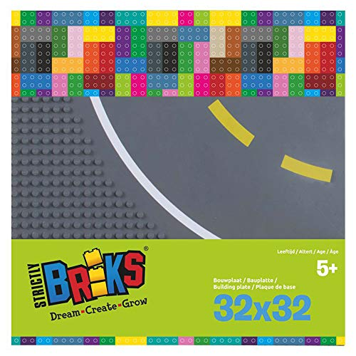 Strictly Bricks ST-LRDC322DG Strictly Briks Grundplatten 2 Stück, je ca. 25 x 25 cm, 32 x 32 Noppen, aufgedruckte Kurve mit Fahrbahnbegrenzung, kompatibel mit Allen Bausteinen führender Marken, grau