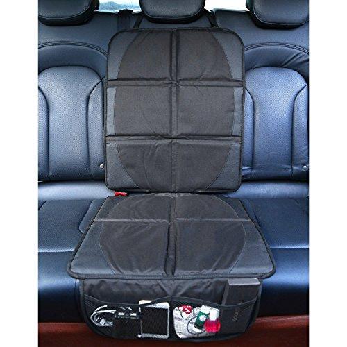 Preisvergleich Produktbild MVPOWER Autositzauflage Autositzschoner zum Schutz vor Kindersitzen Isofix geeignet rutschfest und wasserabweisend Auto Kindersitz-Unterlage 48.5 * 122cm (Schwarz)