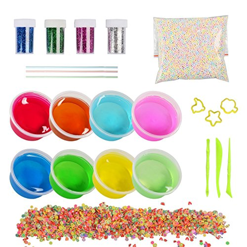 Kinder Spielzeug Schleim DIY Slime Kit,8 Pack Crystal Clay Schlamm mit 5000PCS Bunte Schaum Bälle, 1000PCS Obst Gesicht Dekoration, 4 Flaschen Glitzer Shaker Gläser, ungiftige Magic Transparente Plasticine (8pcs) (Obst-dekoration)