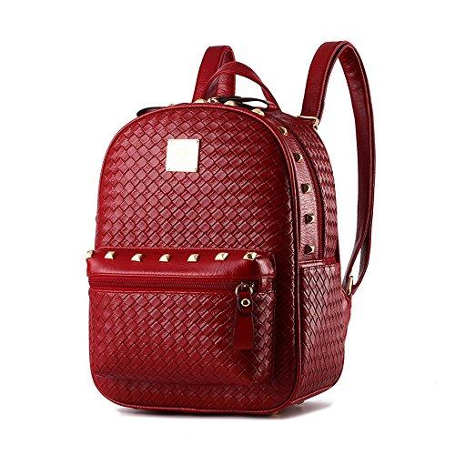 RFVBNM Frauen Rucksack Mode kausalen Taschen hochwertige gewebte Reise Doppel-Schultertasche weiblichen Schultertasche PU Leder Rucksäcke für Mädchen besten Geschenk für Mädchen, Wein rot Rotwein Rot