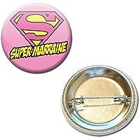 Super MARRAINE Badge rond à épingle 38mm ( Idée Cadeau Baptême Communion Noël )