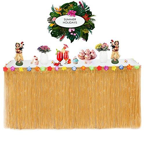 Gudotra Gonna Tavolo Hawaiana Tovaglia da Tavolo à Erba con Fiori Decorazioni per Festa di Compleanno a Tema Barbecue Tropicale Giardino Spiaggia