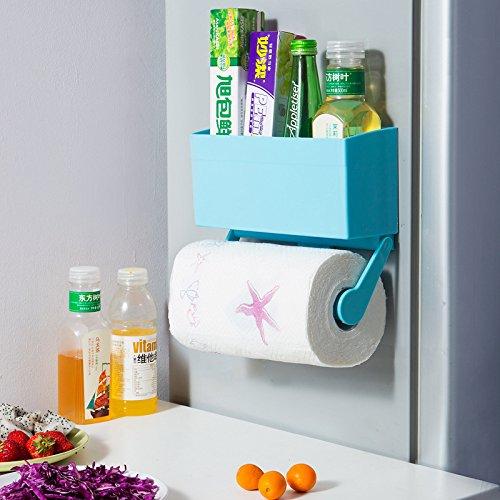 JIA Kühlschrank Kunststoffverpackung Aufbewahrungsbox Home Küche Rollenhalter Spice Aufbewahrungsbox Küche Lagerregale,Blau,Einheitsgröße