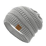 Azue Mütze Damen Winter Strickmütze Grobstrick Warme Beanie mit Innenfutter Hell Grau
