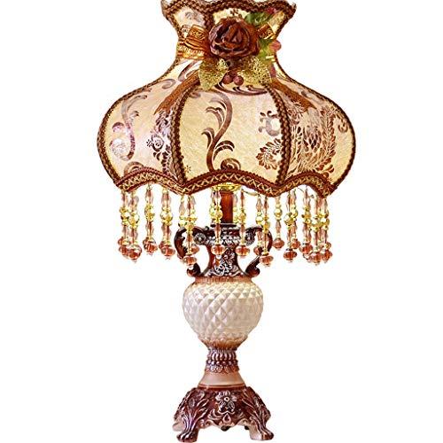 Europäische Tischlampe Goldene Kaffee Farbe Nachttischlampe, Gericht Luxus Retro Spitze Tuch Kunst Innen Dekorative Lampen Und Laternen und Hochzeitsgeschenke (36,5 * 54 cm)