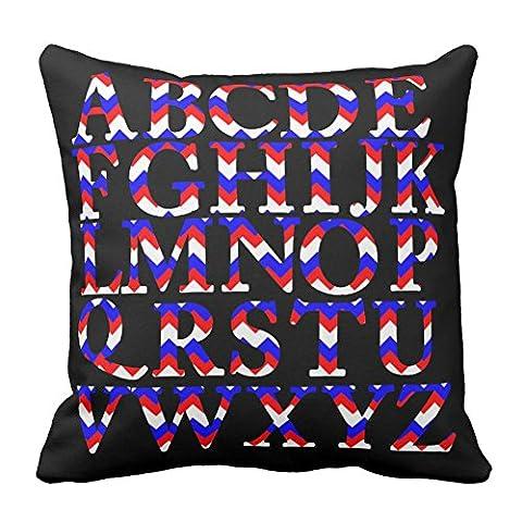 Home décoratifs Rouge Bleu marine et blanc Chevron à rayures Alphabet anglais Taie d