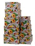 Markenlos Aufbewahrungsboxen/Schachteln im 10er Set mit Deckel Verschiedene Designs (Sonnenblumen)