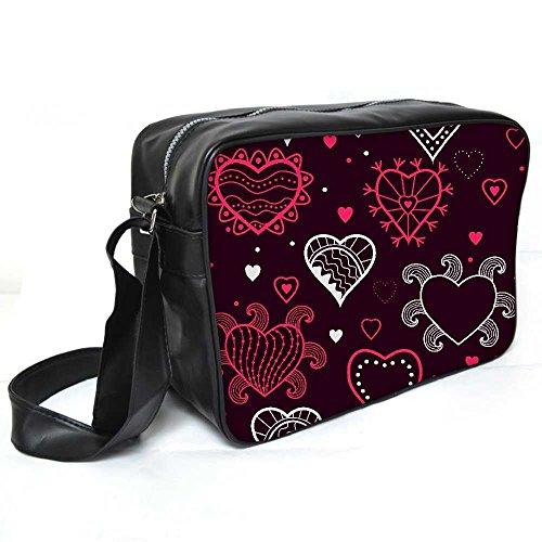 Snoogg Abstrakt Herzen Maroon Muster Leder Unisex Messenger Bag für College Schule täglichen Gebrauch Tasche Material PU (Maroon Damen Herz)