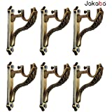 JAKABA Zinc Antique Brass Designer Heavy Supports (for Single Rod 1 inch) - 3 Pairs (6 Pcs) : Curtain Brackets/Holders - JKBATQSUP-JAGUAR-03