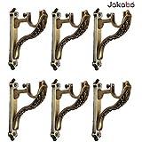 JAKABA Zinc Antique Brass Designer Heavy Supports (for Single Rod 1 Inch) - 3 Pairs (6 Pcs) : Curtain Brackets/Holders - JKBATQSUP-JAGUAR-03