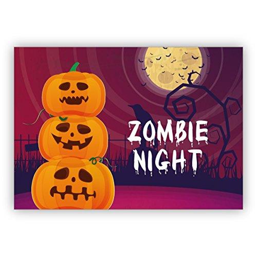 Gruselig schöne Halloween Einladungskarte mit Kürbis und Mond: Zombie (College Kürbisse Halloween)