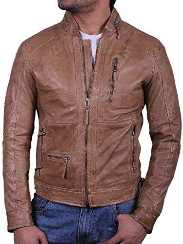 Veste style motard en cuir classique homme moteur slim fit outwear coat veste de moto Beige