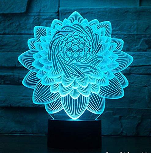 3D Illusion Lampe Lotus Blume Led Nachtlicht, USB Powered 7 Farben Blink Touch Schalter Schlafzimmer Dekoration Beleuchtung für Kinder Weihnachtsgeschenk (Blume Baby Lampe)
