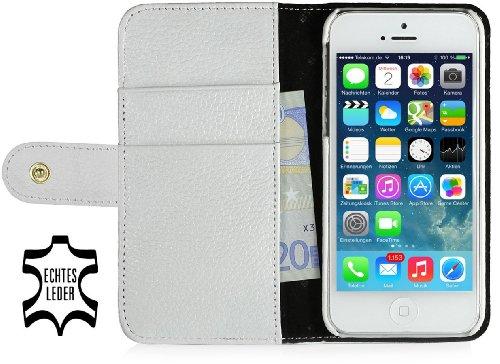 StilGut Leder-Hülle kompatibel mit iPhone 5/5s/iPhone SE Brieftasche mit Karten-Fächer und Druckknopf, Weiß