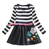 Streifen Punkt Karikatur Party Kleid Kleinkind Mädchen Langarm Outfits Kleidung