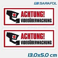 2x Aufkleber Videoüberwachung (Nr.122) TYP1 ACHTUNG! Videoüberwachung Hinweis Sticker Kamera Aufkleber 13,0x5,0 cm
