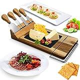 Nutrichef PKCZBD50 Servier-Set aus Holz, rechteckig, mit Platte aus Steinplatte, Edelstahlmesser, Magnethalter, Schneiderklinge zum Schneiden von Lebensmittel, Obst, Fleisch