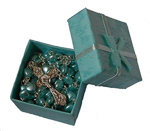 Herz-Rosenkranz in Geschenkbox, Grün/Blau, fürMädchen & Jungen,perfekter erster Rosenkranz, Geschenkidee für Kommunion oder Konfirmation