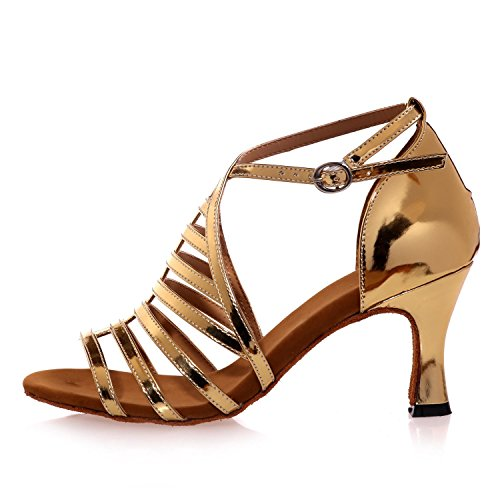 L@YC Scarpe Da Ballo Femminile In Raso Latino Jazz Swing Tacchi alti 7.5 Cm Principianti Personalizzati Personalizzati # Silver