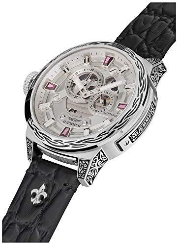 HÆMMER Pink Passion Skeleton Damen-Automatikuhr aus Edelstahl | Exklusiv Limitierte Damen-Uhr mit Kalbsleder Armband | Luxus-Uhr mit Inkgraved veredeltem Gehäuse