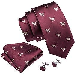 Barry.Wang - Juego de corbatas de seda para hombre Rojo granate Talla única