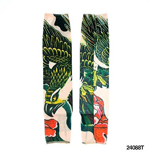 1 Paar Nylon Tattoo-Ärmel Papagei und Blume - täuschend echt (Papagei Muster Kostüm)