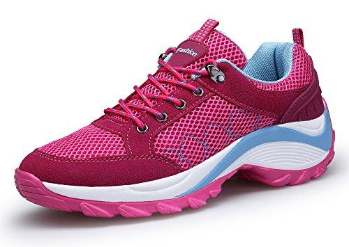 DAFENP Donna Sneakers Scarpe da Ginnastica Corsa Sportive Fitness Running Basse Interior Casual all'Aperto,XZ806-W-red-EU35