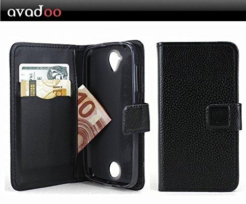 avadoo® Acer Liquid Z330 Flip Case Cover Tasche Schwarz mit Magnetverschluss und Dualnaht als Cover Tasche Hülle