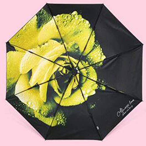 WENYC Super Sonnenschutz Taschenschirm, frisch und stilvoll, leicht und Winddicht Sonnenschirm, geeignet für Damen zu Fuß und Shopping Geschenke Yellow -