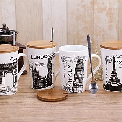 Satyam Kraft Designer Ceramic Coffee Mugs With Lid & Spoon -1Pcs(Random Design)400Ml