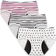 INNERSY Calzoncillos menstruales para niña, de algodón, 3 unidades