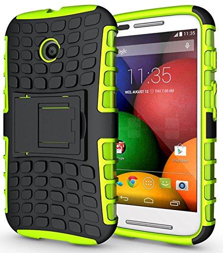 Heartly Flip Kick Stand Spider Hard Dual Armor Hybrid Bumper Back Case Cover For Motorola Moto E XT1022 - Great Green