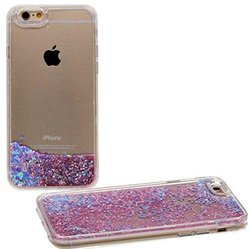 """Coque pour Apple iPhone 7 Plus 5.5"""", Rigide Dur PC Transparente Case étui de Protection - Écoulement Eau Liquide Désign Joli Bling Poudre Rose1"""
