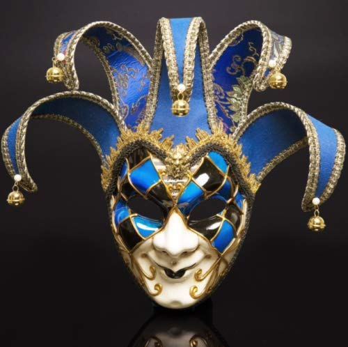 Woojop Bunte Venezianische Joker Full Face Men Joker Masquerade Wand Maske Glocken Mardi Gras Halloween