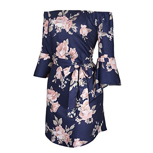 SUNNOW Damen-Sommer Lange Ärmel Schulter-Hülsen-Blumendruck-Minikleid Blau