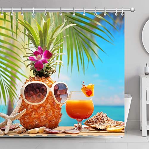 FamyFirst Dickes Duschvorhang Hochauflösender Druck 180x180cm Ananas Sonnenbrille Trinken Strand Palm Tree Wasserdichte Badezimmer Dekor