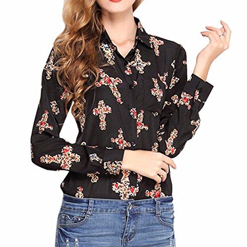 Donne Ol Manica Lunga Moda Collo Con Revers Camicia Stampata T-Shirts Top Croce Nera