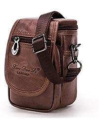 Buyworld Genuine Cowhide Men Waist Pack Shoulder Crossbody Bag Fashion Belt Waist Fanny Pack Phone Case Bag Wallet