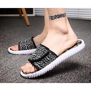 Slippers & amp da uomo;Comfort Tulle Gomma Molla casuale Rosso Nero Bianco piatto, sandali neri sandali Black
