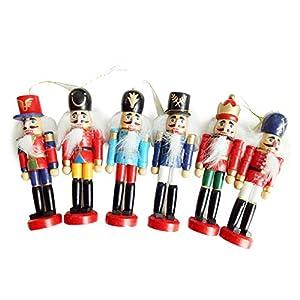 6er Set Nussknacker Figur Christbaumschmuck Handpuppe Anhänger Deko - Schön Weihnachtsgeschenk Für Ihren Freund, Höhe 4,92in In Geschenkbox