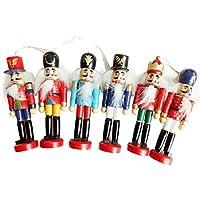 IrahdBowen Decoraciones de Navidad Cascanueces Marioneta de Madera de Soldado 12 CM Juguete de hojalata 6 Piezas Decorativo Colgante de Navidad Regalo de cumpleaños Cascanueces de Madera Soldado