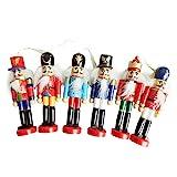 6-teilig Weihnachtsschmuck Nussknacker Holz Soldat Spielzeug 12 cm Zinn Puppe Dekorative Anhänger Puppen Spielzeug Hause Weihnachtsgeschenke