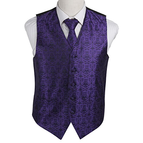 EGD1B.02 Multi-Stil Paisley Microfiber Herren Tuxedo Weste Neck Tie von Epoint EGD1B05B-Dark Violet Schwarz