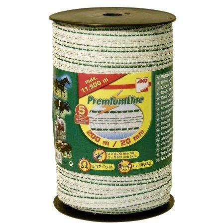 *Band Prem.Line, 200m, 20mm, weiß/grün, 3×0,2 Niro,3×0,2 Cu*