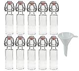 Viva Haushaltswaren - 10 x kleine Glasflasche 100 ml mit Bügelverschluss aus Porzellan, dekorative Glasgefäße als Likörflasche, Schnapsflasche, Ölflasche etc. verwendbar (inkl. Trichter Ø 5 cm)